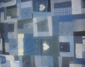 Recycled Blue Jean Wedding/Anniversary Quilt, OOAK, Special Order