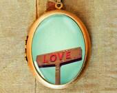 Love Signs - Photo Locket Necklace - Romantic Wedding Anniversary Love Locket Necklace