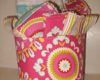 Kumari Garden--- Baby Gift Set--- Burp Cloth, Bib, Rattle Block, Wash Cloth Set and Fabric Basket