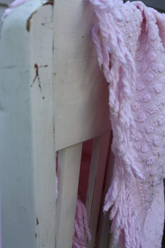 Vintage Morgan Jones Pink Chenille PopCorn Twin Bedspread