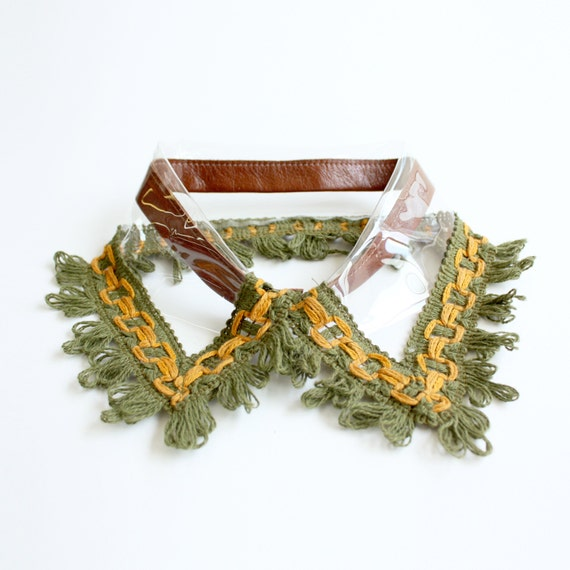 Detachable Clear Vinyl Collar with Cotton Fringe Trim and Leather Band
