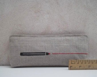 Linen pencil case with red line