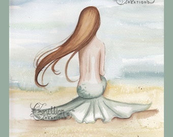 Mermaid Watching the Tide Print from Original Watercolor Painting by Camille Grimshaw