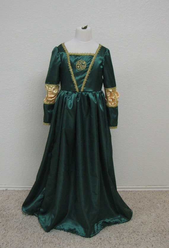 Girls Green Brave Celtic Scottish Girl Merida Princess Costume Gown