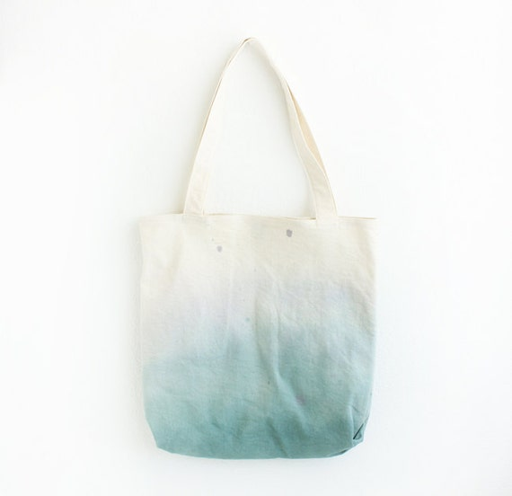 teal and blue dyed texture tote