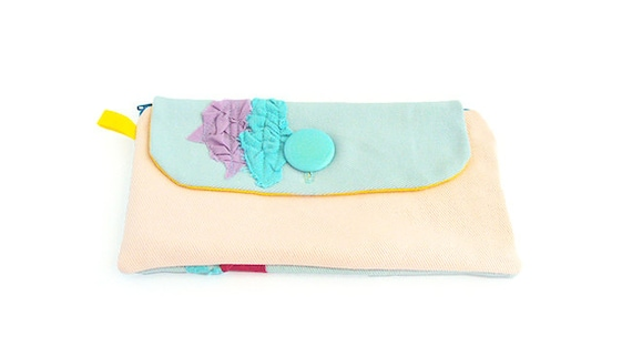 SALE lilac and blue pleats on light pink Big Wallet