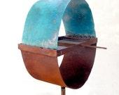Sculptural Bird Feeder 251 egg shape Turquoise roof chicken's egg