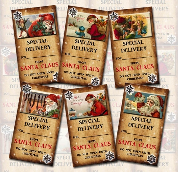 "Santa ""Special Delivery"" Christmas Gift Tags / Cards -Printable Collage Sheet  JPG Digital File-New Lower Price"