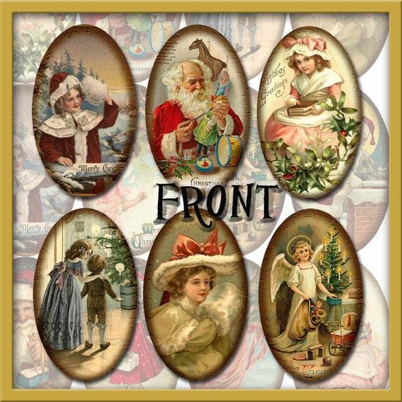 Nostalgic Christmas Decorations: 12 Nostalgic Christmas Vintage Images Oval Tag/Ornaments
