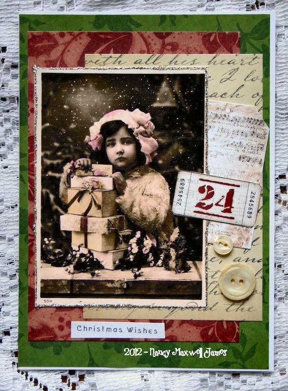 Christmas Wishes HANDMADE Christmas Collage Greeting Card
