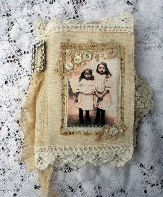 SISTERS OOAK Fabric Book HANDMADE with vintage laces and rhinestone brooch