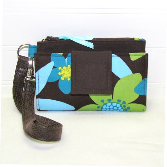 ROOMY TECH Cell Phone Wristlet Case Card Pocket Holder iPhone Wallet Purse / Turquoise Teal Lime on Brown