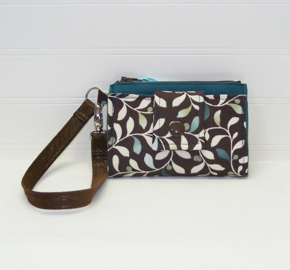 ROOMY TECH Cell Phone Wristlet Case Card Pocket Holder iPhone Wallet Purse / Teal Green Ivory Leaves on Brown