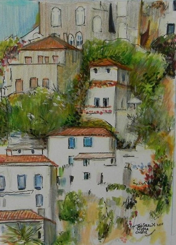 Original Watercolor Painting  Illustration of Hydra,Greece Island in Wood Frame