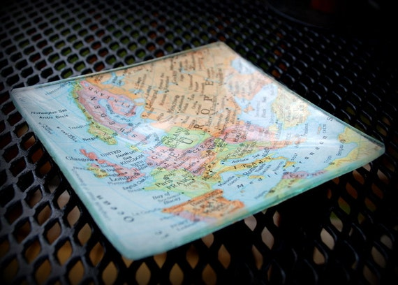 Europe Vintage Map Decorative Glass Plate