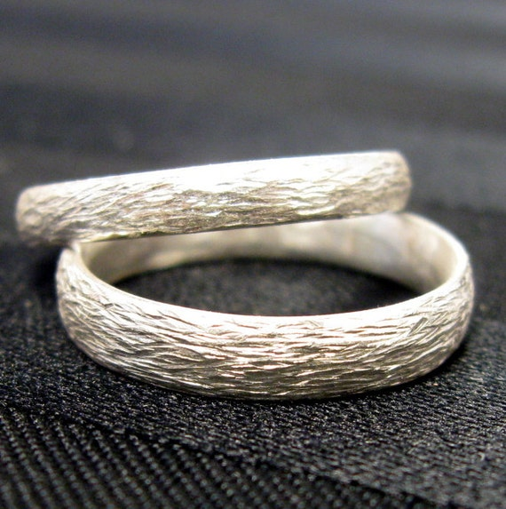 Sterling Silver Hammered Texture Simple Wedding Band Set By