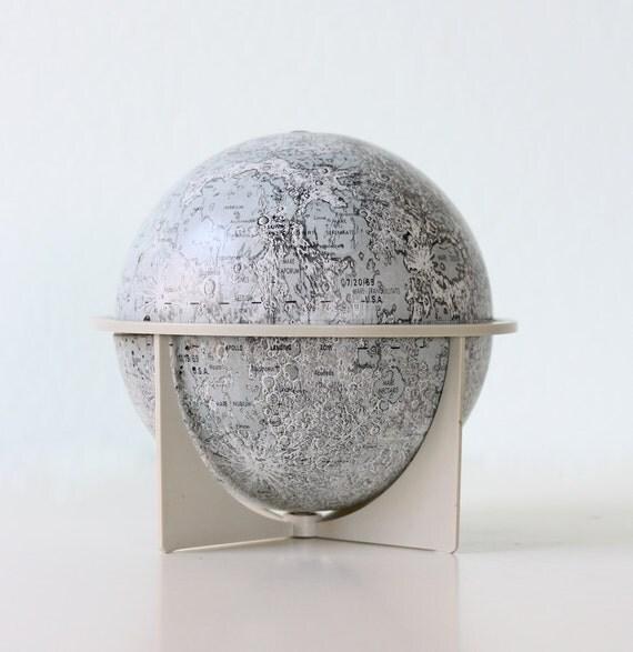 "Vintage Moon Globe - 6"" tin globe by Replogle"