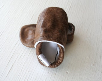 Baby Booties boy shoes girl shoes baby slippers baby shoes soft soled shoes non slip shoes SWAG Brown Leather shower gift newborn infant