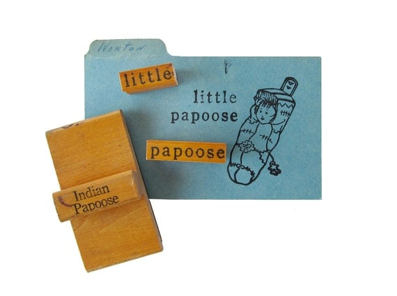 Vintage PAPOOSE Rubber Stamps - Set of 3