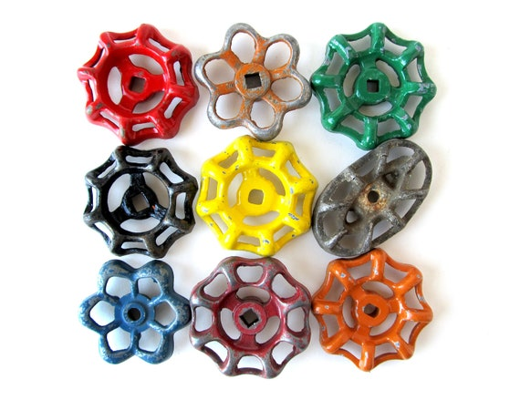 Rainbow Valve Knobs - INSTANT COLLECTION -  Set of 9 Garden Water Faucet Valve Knobs