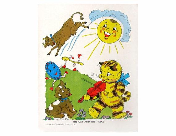 Hey Diddle, Diddle NURSERY RHYME Poster Illustration Nursery Art