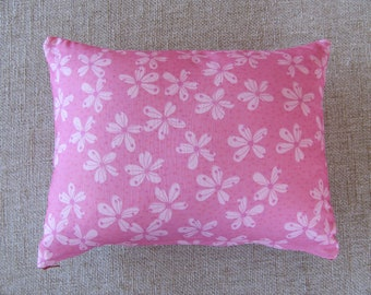 12x16 in Handmade Rectangle Throw Pillow with Pink and Red Cherry Blossom Polka-Dot Floral Print