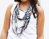 Unique GEOMETRIC statement spagetti fringe knit jersey fabric and ribbon necklace