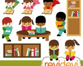 Kids reading clipart / digital images / Cliparts Reading Is Fundamental 07427