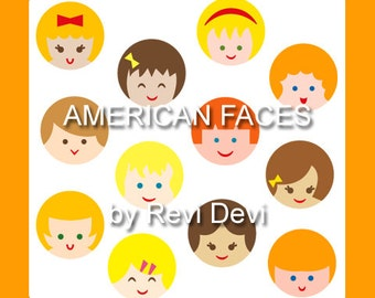 American faces clipart - Cute kids clipart blond and brunette hair - face head digital clipart - instant download
