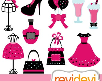 Fashion boutique clipart - tween diva party sweet 16 clip art commercial use - mannequin, dress, purse, milk shake / girly pink black