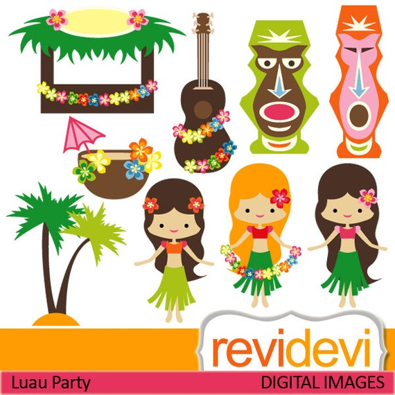 Clipart Luau Party 07419.. Commercial use digital clip arts.. Hawaiian girls, tiki bar,banjo, coconut tree images