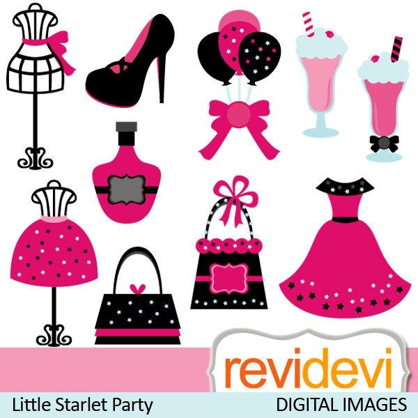 Fashion boutique clipart tween diva party sweet 16 clip art