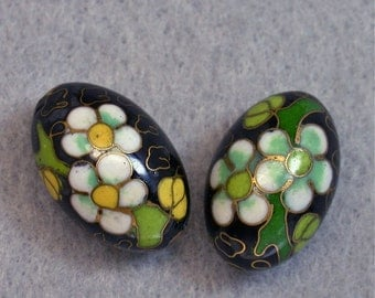 Vintage Chinese Cloisonne Black OVAL FOCAL Beads White Green Yellow Flowers 23mm pkg 2 clo104