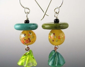 Glass  Earrings:  Vintage Japanese and Venetian Beads in Turquoise Green and Honey