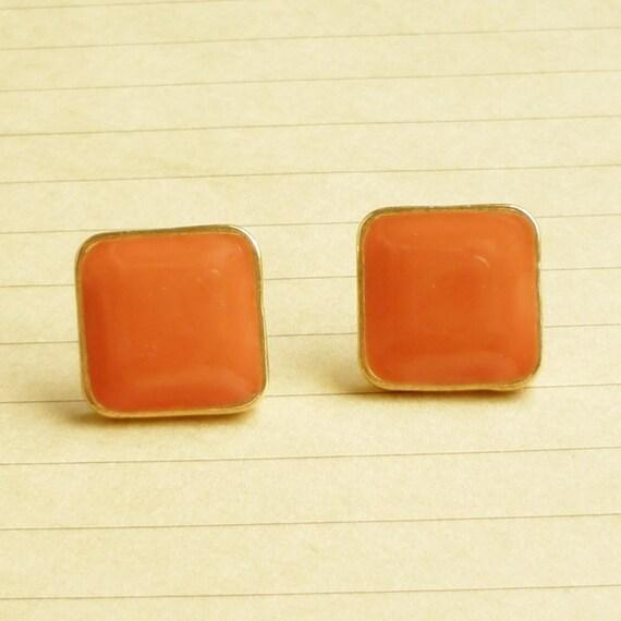 Orange Summer - Salmon Orange Enameled on Large Square Gold Setting Ear Studs - gift under 10