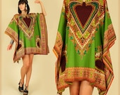 ViNtAgE 70's Rare Hearts DASHIKI Caftan Mini Gypsy Hippie Dress Free Size