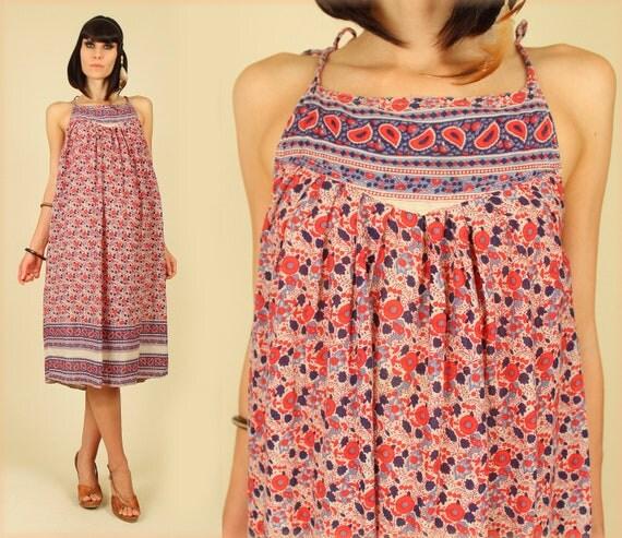 ViNtAgE 60's India Floral Gypsy Cotton Voile Hippie Sun Dress