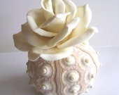 Beach Wedding Decoration Clay Flowers Table Setting Clay White Rose Decor Made to Order  Set of 4