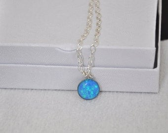 Blue Opal necklace, Sterling Silver Necklace, Adjustable Chain, Pendant Necklace, Opal Jewelry, 925 Silver