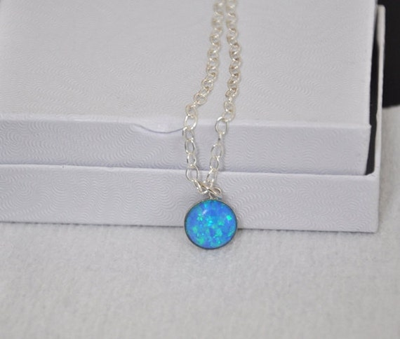 Blue opal necklace sterling silver necklace adjustable like this item mozeypictures Gallery