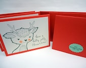 Reindeer Christmas Cards Pack of 6