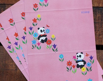 Vintage Cute Pandas and Flowers Fold a Note Stationery - Set of 5