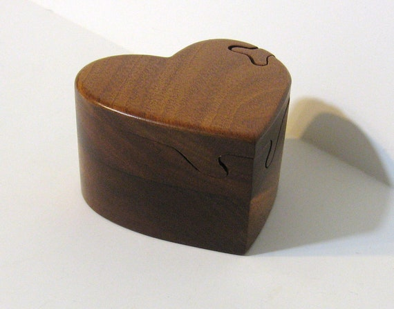 Heart Puzzle Box Made From Red Mahogany Wood