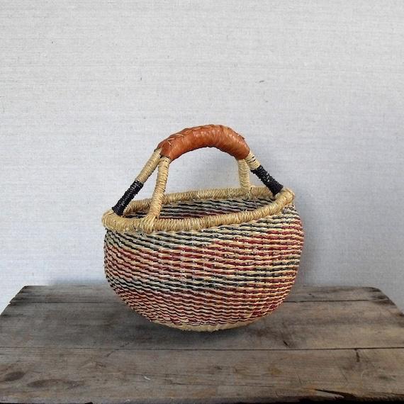Vintage Bolga Basket : Handwoven Basket