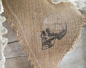 Halloween Burlap Bunting BOO Skull Banner Decorations Lace Primitive Farmhouse Photo Prop