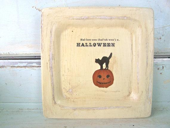 SALE Primitive Halloween Decor Sign Black Cat PUMPKIN Wall Decor Farmhouse Shabby Chic Cottage
