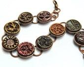 SALE - Antique Button Bracelet Link Brass Bracelet Victorian Adjustable Copper Mix