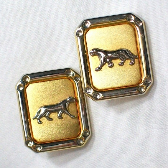 Vintage Cougar Jaguar Panther Big Cat Icon Gold Clip On Earrings 1980s