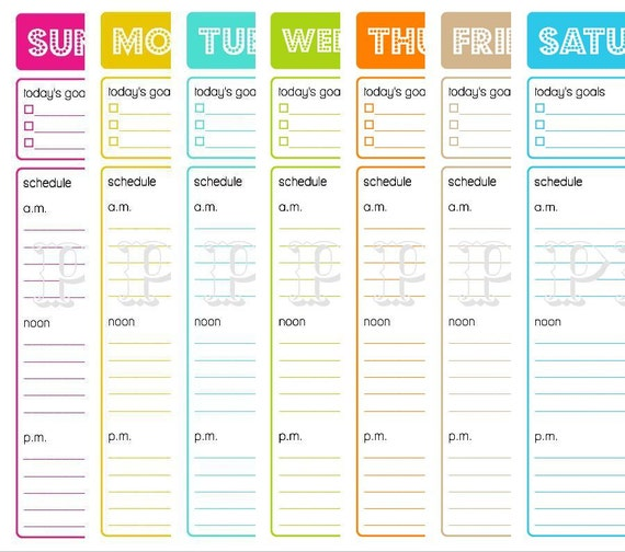 Printable Daily Planner To Do List Goals Schedule Menu
