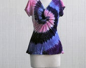Tie Dye Twisted Front Ladies Shirt in Pinks and Purples